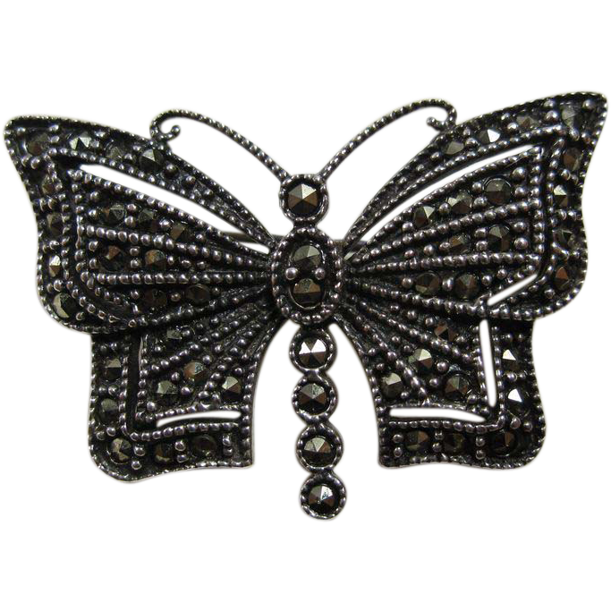 Vintage Sterling Silver & Marcasites Butterfly Pin