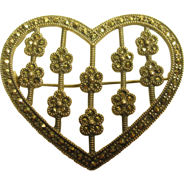Vintage Marcasite Heart & Flowers Pin Pendant Sterling Silver