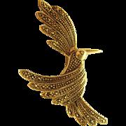 Vintage Sterling Silver Marcasite Hummingbird Pin Brooch