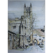 Framed Paul Geissler Signed Etching of Madison Hall Princeton University NJ