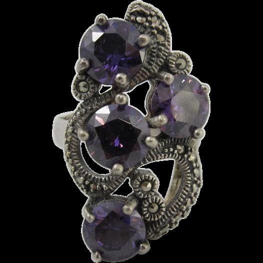 Vintage 1980s Large Sterling Silver Ring w/ Purple Rhinestones & Marcasites