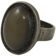 Vintage Sterling Silver Ring w/ Smokey Dark Gray Stone