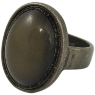 Vintage Sterling Silver Ring w/ Smokey Dark Gray Stone