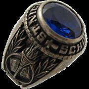 Vintage 1986 St. Nicholas School Sterling Silver Blue Stone Ring