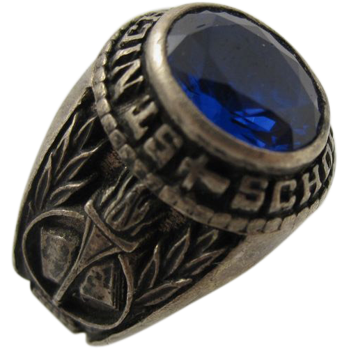 Vintage 1986 St. Nicholas School Sterling Silver Blue Stone Ring