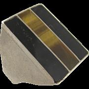 Vintage Sterling Silver Onyx & Tiger Eye Ring Signet