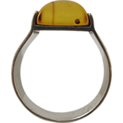 Mid Century Modernist Sterling Silver & Amber Ring