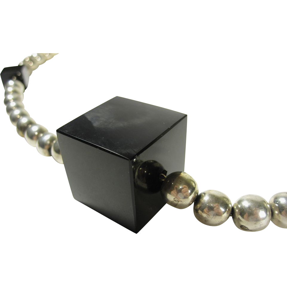 Vintage Mexican Sterling Silver Bead Necklace w/ Onyx Cubes
