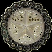 Jewish Silver & Mother of Pearl Star Pendant / Pin Jerusalem