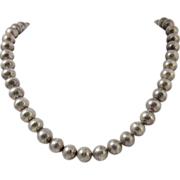 "Vintage Sterling Silver Bead Necklace 23"" Long"