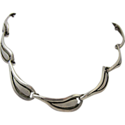 Mexican Sterling Silver Choker Necklace Mexico 1940s