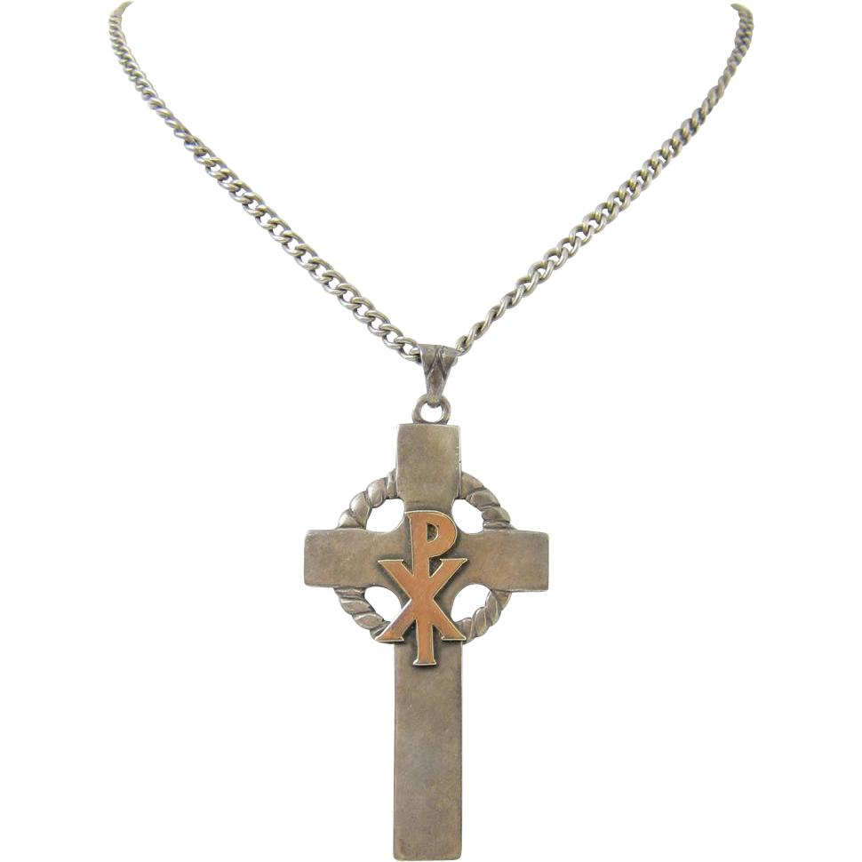 Sterling Silver & 10k Yellow Gold Chi Rho Celtic Cross Pendant