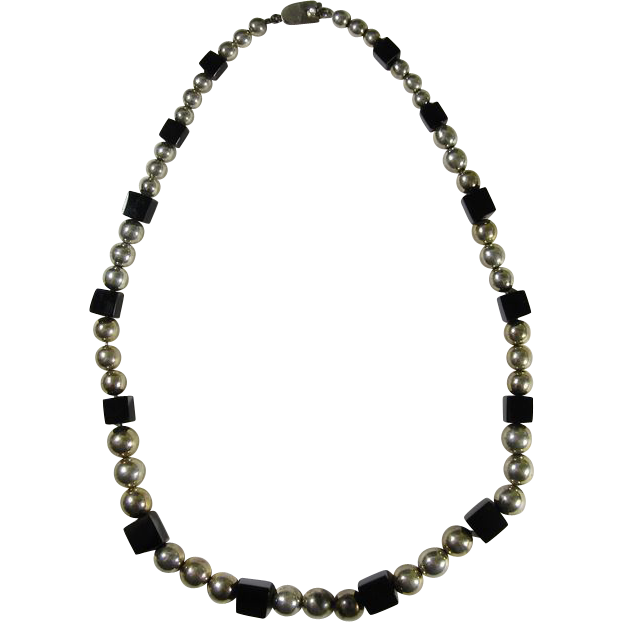 Mexican Sterling Silver Beads & Onyx Cubes Necklace