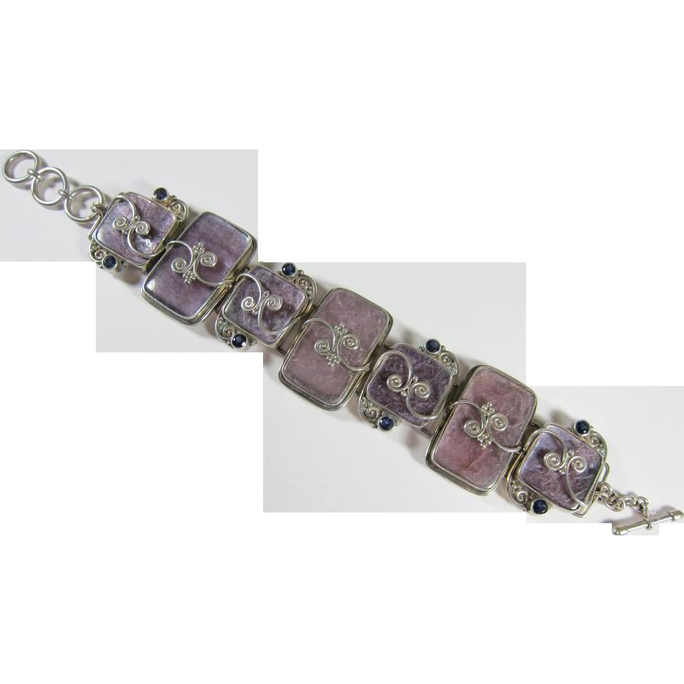 Vintage Sterling Silver Bracelet w/ Purple Stones by Sajan