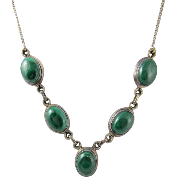 sterling silver green malachite necklace sold on ruby