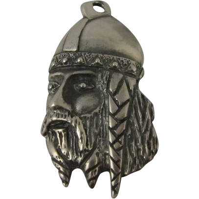 Sterling Silver Viking Head Charm Pendant Sweden Great Detail!