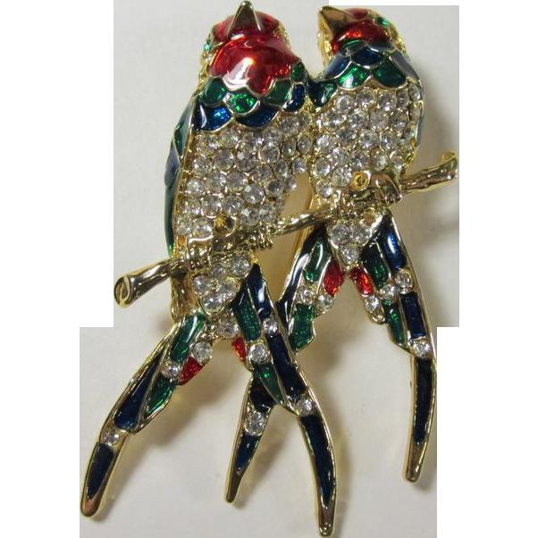 Vintage Pair of Parrots Enamel & Rhinestones Brooch Pin