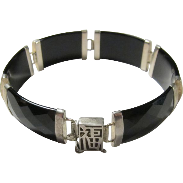 Vintage Chinese Sterling Silver & Black Onyx Bracelet