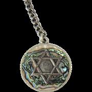 Vintage 925 Silver & Abalone Jewish Star of David Key Chain