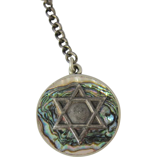 Vintage 925 Silver & Abalone Jewish Star of David Key Chain