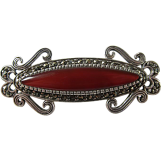 Marcasite Sterling Silver & Dark Red Carnelian Brooch Pin
