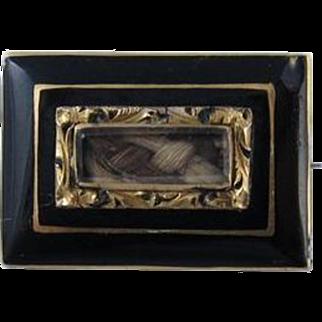Antique Victorian Black Enamel 14k Gold Mourning Hair Pin