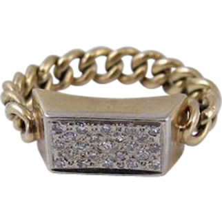 Vintage 14k Yellow Gold & Diamonds Chain Ring
