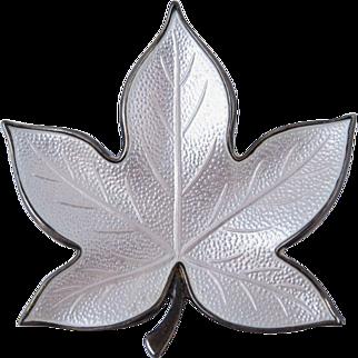 Vintage Sterling Silver & White Enamel Leaf Brooch Denmark