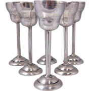 Set of Six Art Deco Polish Vodka Cups 800 Silver Cracow Poland