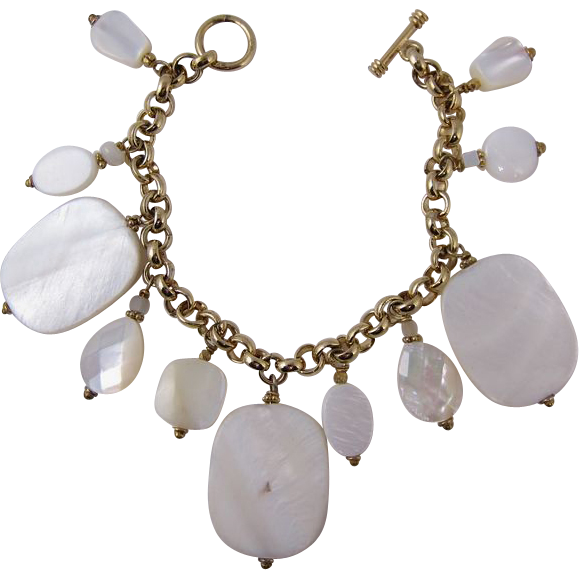 Vintage 1980s Gilt Sterling Silver and Mother of Pearl Bracelet