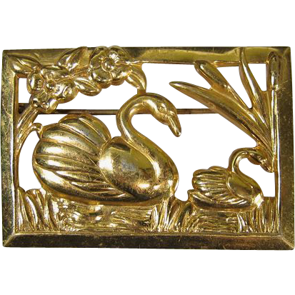 Vintage Gilt Sterling Silver Swan Brooch by Coro
