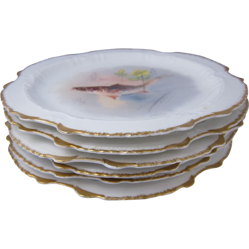 Set of Six Limoges Hand Painted Porcelain Fish Plates France