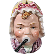 Antique Austrian Ceramic Figural Penny Bank Baby Face