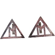 "Brutalist Hand Made Sterling Silver ""M"" Large Triangle Cufflinks"