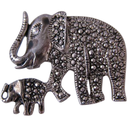 Vintage Sterling Silver & Marcasites Elephant Pin
