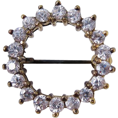Gilt Sterling Silver & Clear Stones Round Brooch Pin