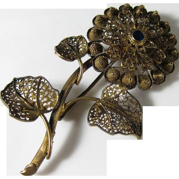 Vintage Gilt Filigree 833 Silver & Blue Sapphire Flower Pin Brooch 1940s