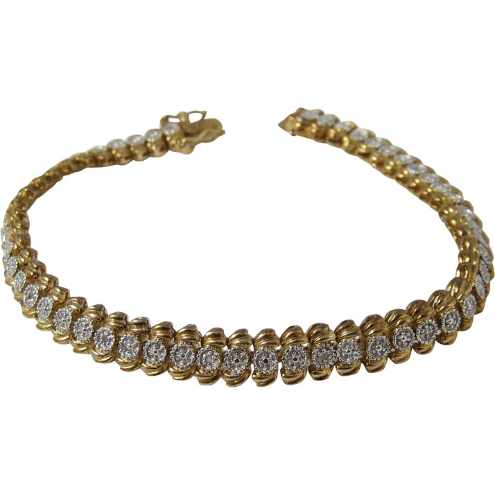 Vintage 1980s Sterling Silver and Gold Wash Tennis Bracelet