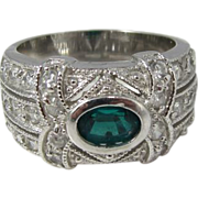 Sterling Silver Clear Crystals and Green Emerald Rhinestone Cocktail Ring Early 1990s