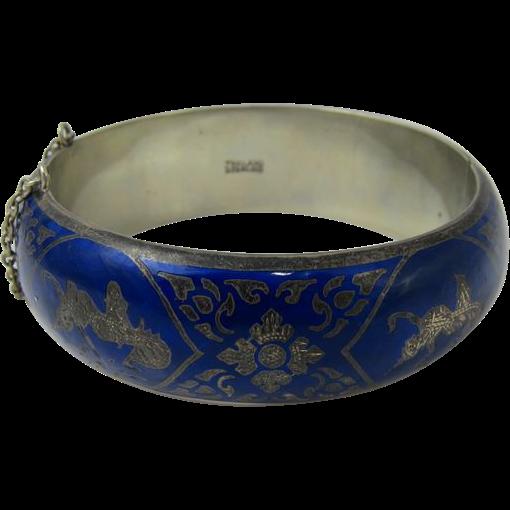 Vintage 1950s Sterling Silver & Cobalt Blue Enamel Bangle Bracelet Thailand