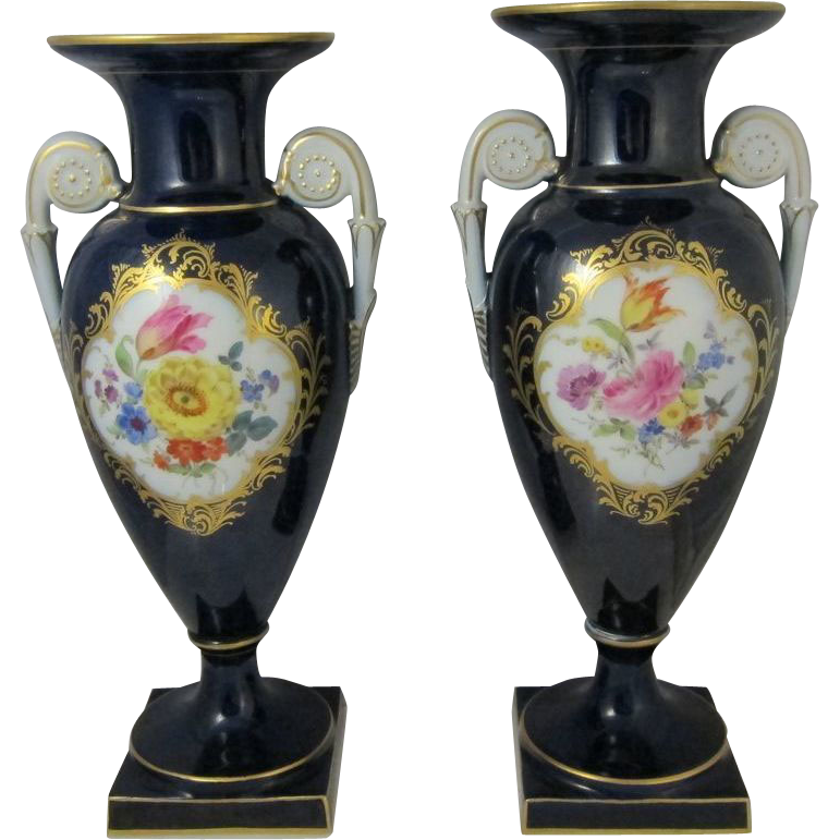 Pair of Antique Meissen Hand Painted Porcelain Flower Vases Cobalt Blue