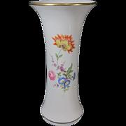 "Vintage 1950s German Meissen White Porcelain Hand Painted Flower Vase 10 1/4"" Tall"