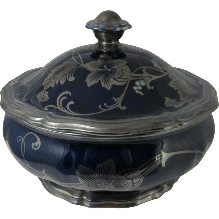 German Rosenthal Chippendale Cobalt Blue Silver Overlay Covered Dish / Vegetable Tureen