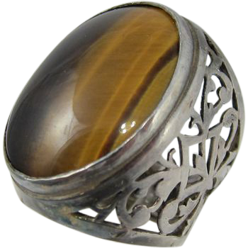 Israeli Sterling Silver & Tiger Eye Large Ring Israel