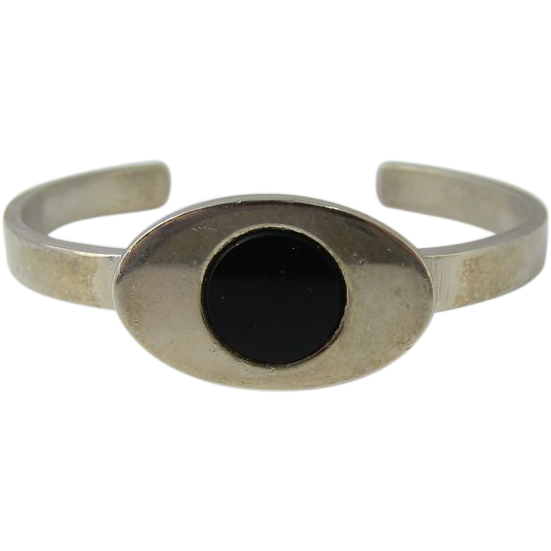 Rare Modernist 1970s Sterling Silver & Black Onyx Bangle Bracelet by Pierre Cardin