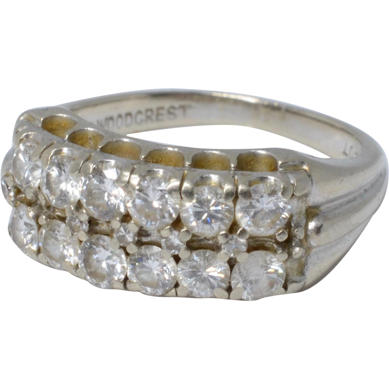 Vintage 1940s 14k White Gold & Diamonds Ring Wedding Band