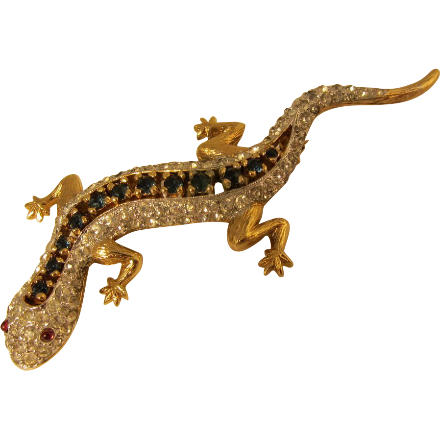 Vintage Jeweled Lizard / Gecko Brooch Pin by Panetta