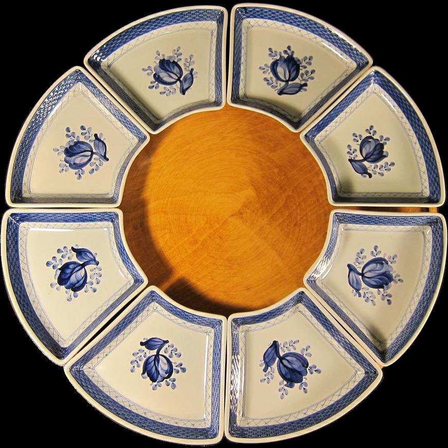 royal copenhagen lazy susan porcelain dishes w wooden base 1960s denmark