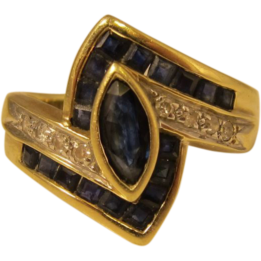 Vintage 14k Yellow Gold Diamonds & Blue Sapphires Ring