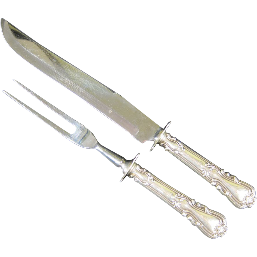Antique 1900s Sterling Silver Meat Carving Set Knife & Fork